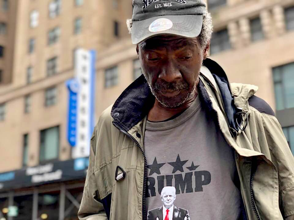 Homeless man in Trump shirt by Justin copy