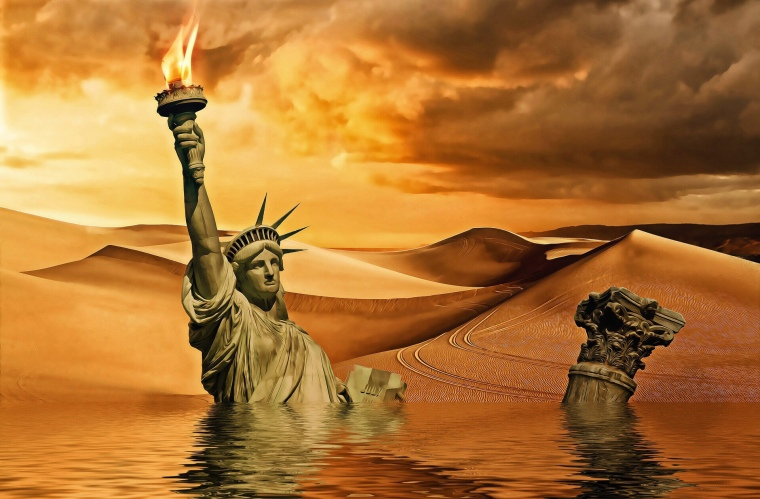 Sinking Statue of Liberty