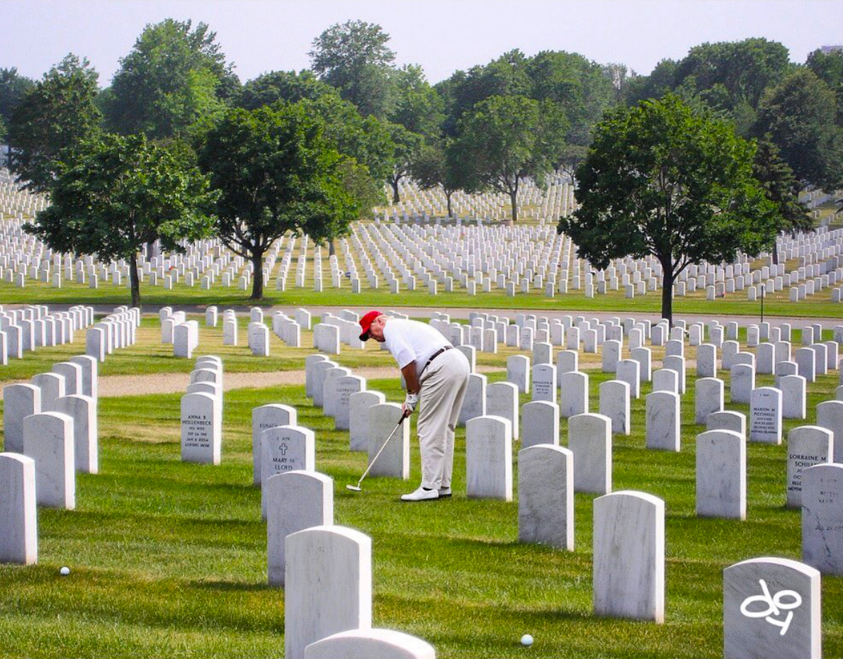Trump Golfing in Graveyard